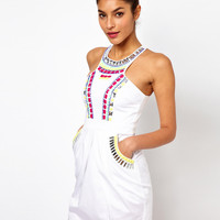 Lipsy Tribal Embellished Neck Dress