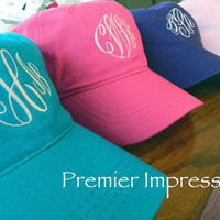 Hats Monogramed Baseball Caps 25 COLOR HATS by PremierImpressions