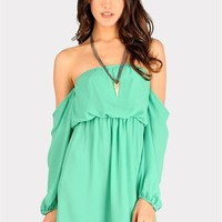 Perfection Off The Shoulder Dress - Mint