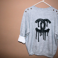 Chanel Drip Studded Sweatshirt - hipster - tumblr - trendy - grunge