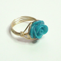 SALE SPEND 15 Get FREE Gold Spiral Wrapped Ring Turquoise Rose and Gold Wire Wrapped Ring