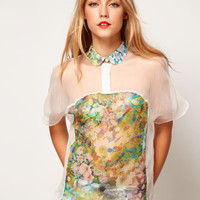 ASOS Blouse With Inserted Floral Print Panel