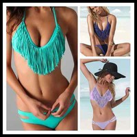 Padded Boho fringe V Halterneck dolly bikini Swimwear Aqua Blue Purple S M L HOT