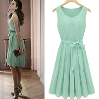 summer  womens sleeveless pleated chiffon dress