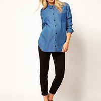 ASOS Maternity Boyfriend Shirt With Shadow Pocket at asos.com