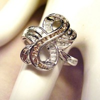 14Kt. Gold & Diamond Ring - Champagne & White Diamonds - Channel Setting 3.9 Grams - Fancy Ribbon Design size 10