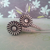 Metalic Daisy Earbuds with Swarovski Crystals down the front