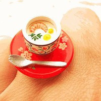 Japanese Egg Custard Dish Miniature Food Ring