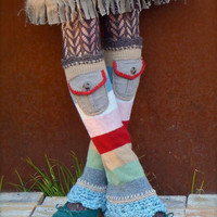 STRIPED Beige LEG WARMERS with Pockets Flared leg warmers Earth tones Steel blue Bell Bottoms eco friendly clothing Fall red leg warmers