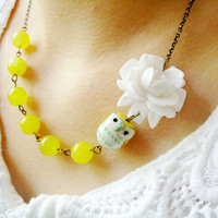 Owl Necklace,Owl Jewelry,Yellow Jewelry,Flower Necklace,Bridesmaid Necklace,Stone Necklace (Free matching earrings)