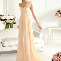 SinoSpecial.com  Sheath/Column One-shoulder Sweep Train Prom Dress