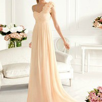 SinoSpecial.com — Sheath/Column One-shoulder Sweep Train Prom Dress