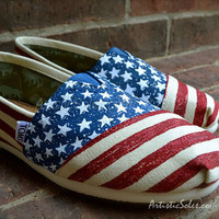 Stars & Stripes Forever Custom TOMS Shoes by by ArtisticSoles