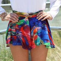 Multi Color Rainbow Print Flowy Frill Shorts