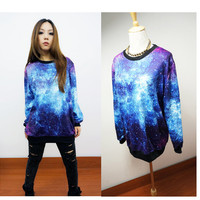Chic Women's Galaxy Space Starry Print long Sleeve Top Round