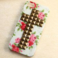 iphone 5 case studded Bronze Cross Studded Iphone by wesweetlife
