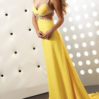 Alluring Straps Hollow-out Sweep Train Chiffon Prom Dress