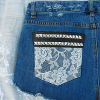 OOAK dipped, laced & studded shorts