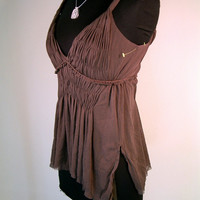 Max Studio Top XS X SMALL brown silk mesh hippie boho tank festival peasant