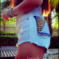 High waisted studded denim cut off shorts by Jeansonly on Etsy
