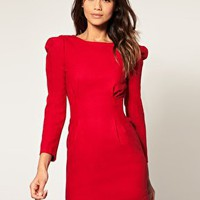 ASOS | ASOS Pencil Dress with Puff Shoulders at ASOS