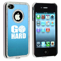 Light Blue Apple iPhone 4 4S 4G Rhinestone Crystal Bling Aluminum Plated Hard Case Cover S1571 Go Hard Volleyball