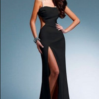 Eva LaRue 2010 Emmy Inspired Black Stretch Satin Gown - Unique Vintage - Cocktail, Pinup, Holiday & Prom Dresses.