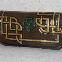 Leather Celtic Cell Phone case with clover by thompsoninspirations