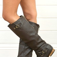 Tosca01a Zipper Back Knee High Flat Riding Boots BROWN  - Boots - Shop
