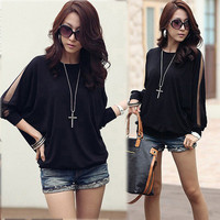 Women Batwing Long Sleeve See through Tulle Plain Black Tops T-shirt Casual 4236