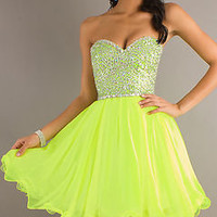 Lime Organza Fully Bead ...