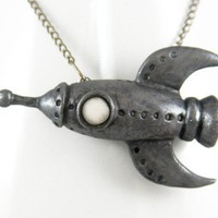 Retro Space Rocket Necklace Handmade by NeverlandJewelry on Etsy