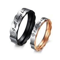 "Stainless Steel Love ""I Will Always Be with You"" Couples Promise Rings Mens Ladies Wedding Bands with Cubic Zirconia: Jewelry: Amazon.com"