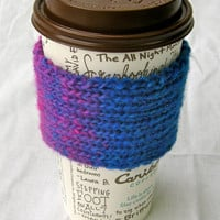 Coffee Cup Cozy Blue Fuschia Teal by NikisKnerdyKnitting