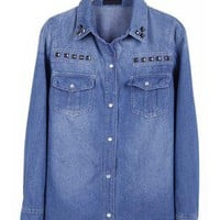 Blue Rivet Pockets Denim Blouse S090