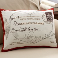 Love Postcard Boudoir Pillow Cover | Pottery Barn