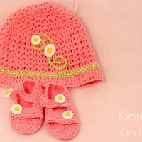 Crochet Baby Hat And Sandals Set/0-.. on Luulla