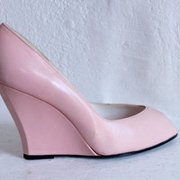80s PASTEL PINK Leather D'Orsay Peep toe Wedge Pumps 6 36 5.5 36.5