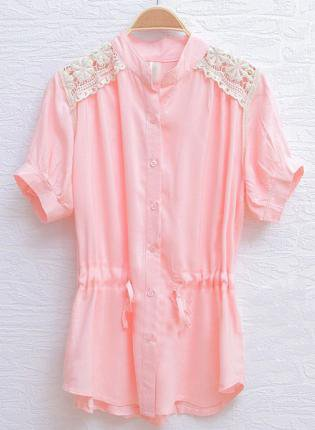 Pink Crochet Floral Lace Shoulser Drawstring Shirt S095