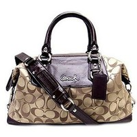 Coach Signature Sabrina Ashley Duffle Convertiable Satchel Bag Purse Tote 15443 Khaki Mahogany