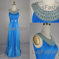 Straps with Beading and Crystal Long Chiffon Blue Prom Dresses, Prom Gown, Evening Dresses, Evening Gown, Wedding Party Dresses