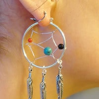 Dream Catcher Beaded Hoop Earrings