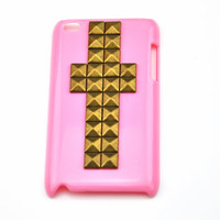 iPod touch 4 hand Case Cover with cross bronze pyramoid stud for apple ipod touch 4 hard Case, ipod touch 4 case  c 6