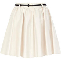 Cream belted skater skirt