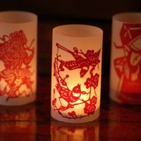 Ruby Red Double Paper Cut Luminary set of 50