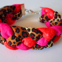 Leopard print / Pink / Orange - Braided Fabric Bracelet / Animal Print Bracelet / Leopard / Cheetah Print / Animal Print Bangle