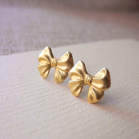 Bow Earring Studs - Brass Ribbon Earring Posts - Valentine's Day Jewelry - Romantic Jewelry