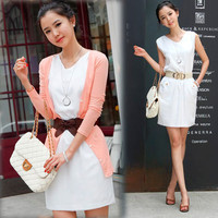 Korean Trendy Chic Women Summer Mini Dress Tunic Sleeveless OL Style