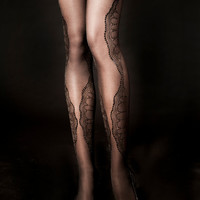 EXCLUSSIVE Hand Printed Tights - La Boheme, Black on sheer black, Flash Back collection