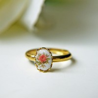 Victorian Rose. Vintage Gold Ring